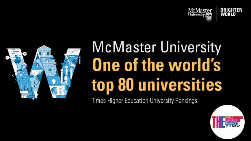 McMaster ranked among the top 80 universities worldwide