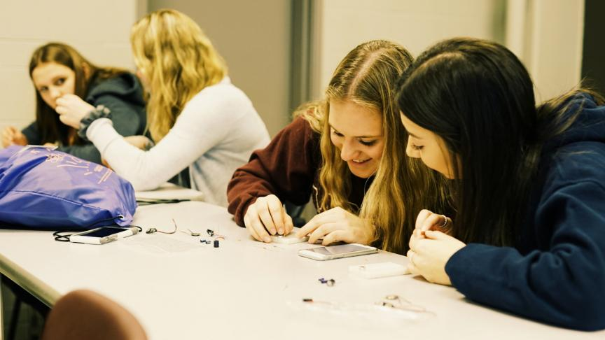 Female high school students learn about STEM during overnight stay