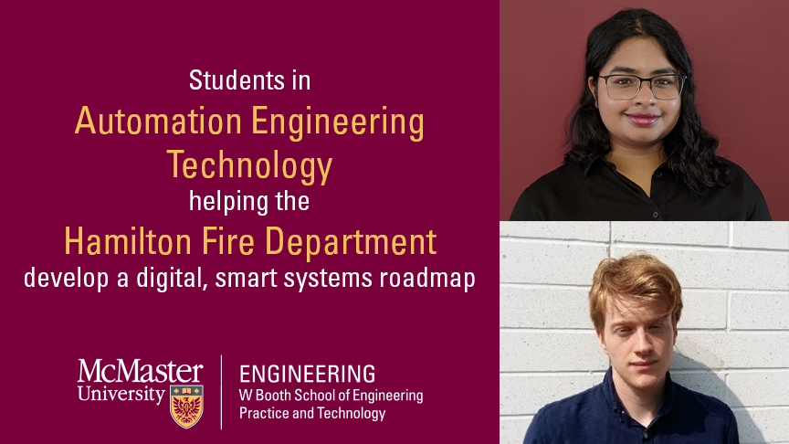 Students in Automation Engineering Technology helping the Hamilton Fire Department develop a digital, smart systems roadmap