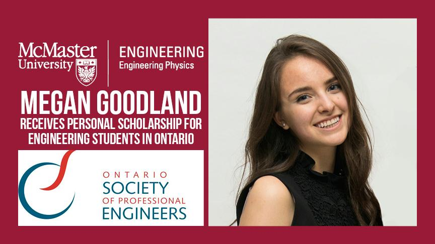 Megan receives a scholarship from Ontario Society of Professional Engineers!