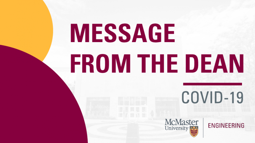 A message from Dean Puri to the Faculty of Engineering