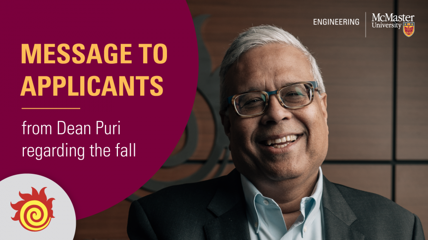 Message to applicants from Dean Puri regarding the fall