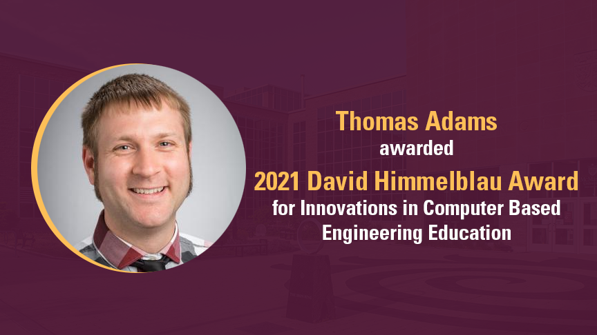 Thomas Adams wins award for innovation in chemical engineering education