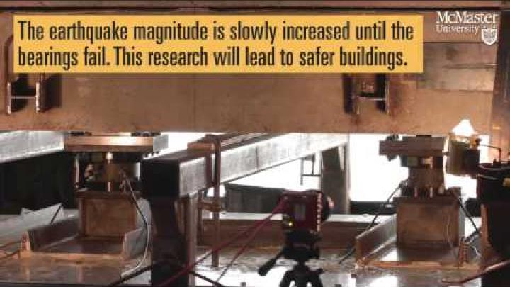Embedded thumbnail for McMaster Civil Engineers testing isolation bearings