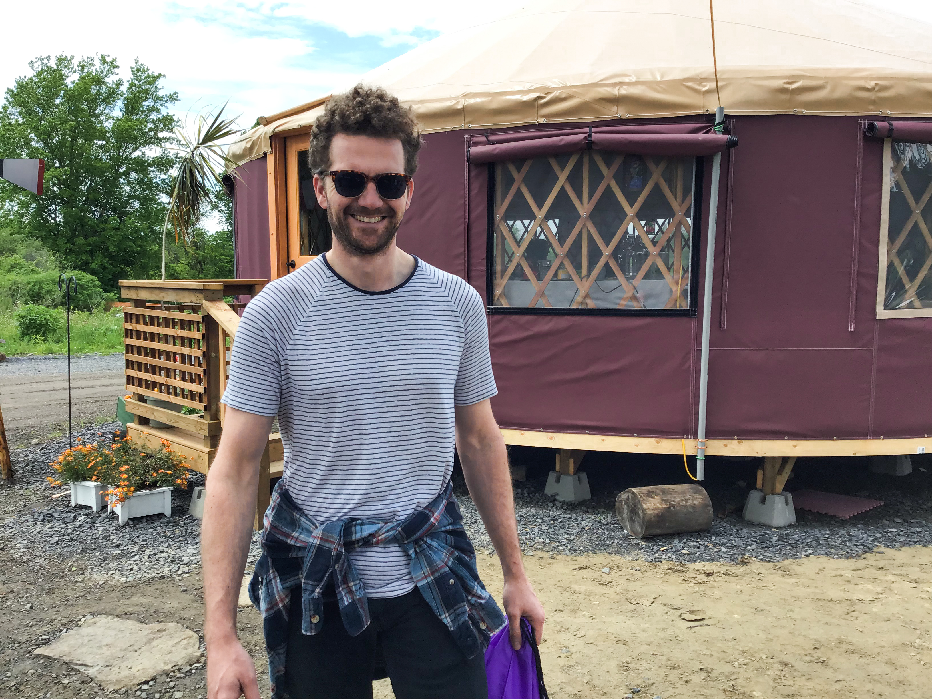 Charles de Lannoy outside a yurt.